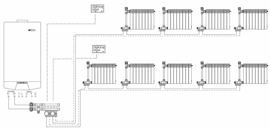 Фото: Схема подключение термолегулирующих клапанов