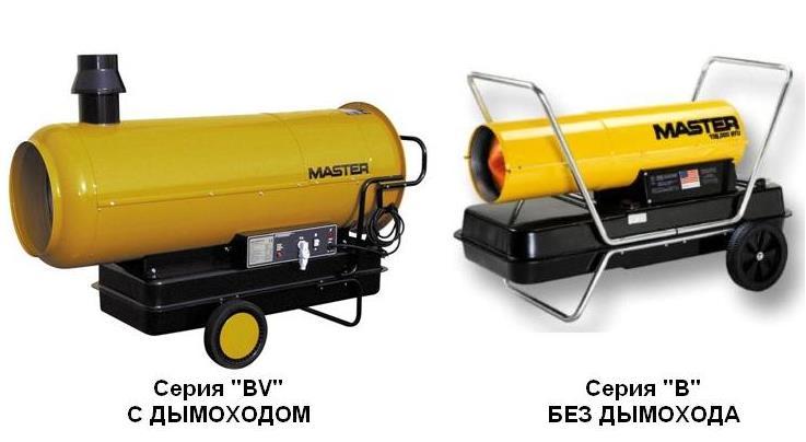 Фото: Дизельные тепловые пушки Master с дымоходом и без